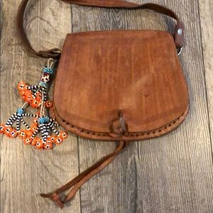 Vintage Leather Bag with Beads
